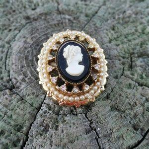 Jewelry - Dainty Signed CORO pin brooch cameo womens jewelry